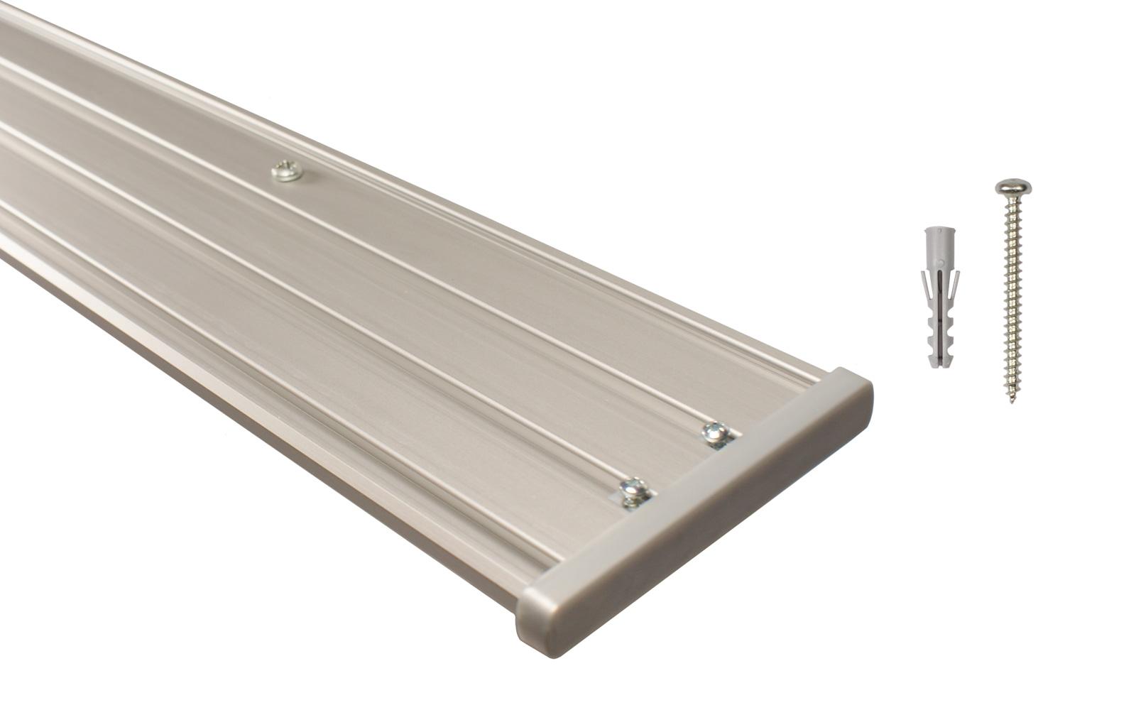 4 l ufige gardinenschiene aus aluminium alu silber vorgebohrt. Black Bedroom Furniture Sets. Home Design Ideas